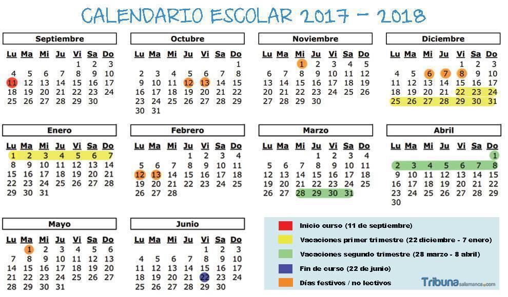 Calendario Escolar Valladolid 2020.Vacaciones Festivos Y Todas Las Fechas Del Calendario Escolar 2017 2018