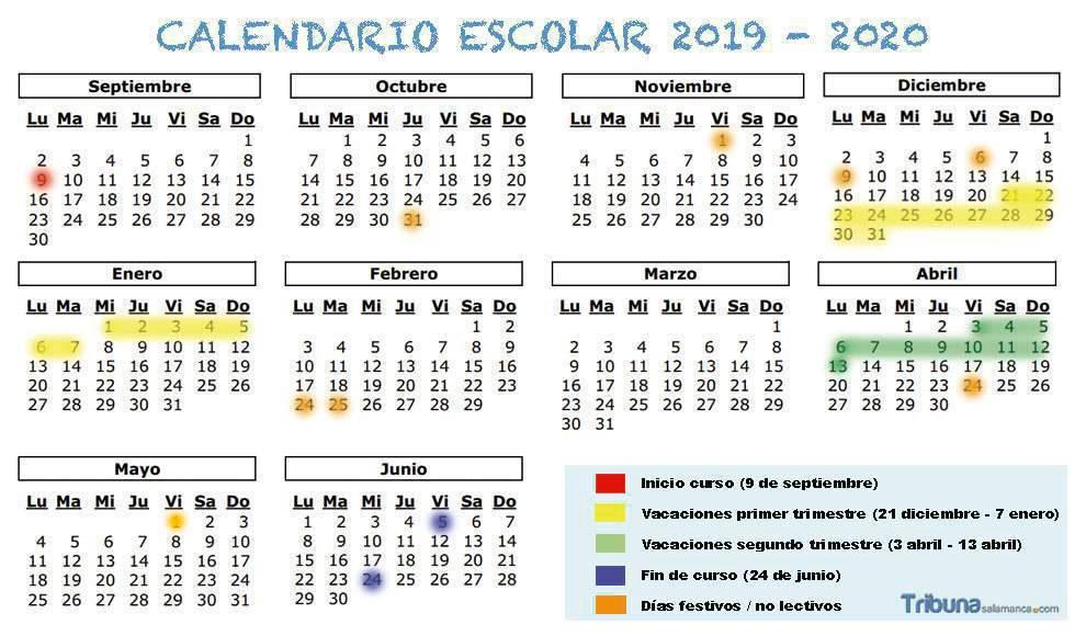 Calendario 2020 Marzo Abril.Calendario Escolar 2019 2020 Fechas De Inicio Y Final De